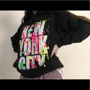 New York City Black Hoodie With Paint Splatters